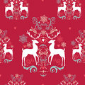 Vintage christmas elements seamless pattern backgr reindeer snowflakes and heart shapes background eps vector file organized in Stock Image