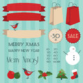 Vintage christmas elements set Stock Photography