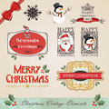 Vintage christmas elements set Stock Photo