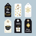 Vintage Christmas gift tags set. Hand drawn labels with golden Christmas holly wreath, deer, coffee and present Royalty Free Stock Photo