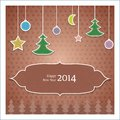 Vintage christmas greeting card with tree Royalty Free Stock Photos