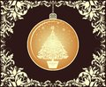 Vintage Christmas greeting with gold Xmas hanging globe and floral ornate vignette Royalty Free Stock Photo