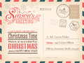 Vintage Christmas and Happy New year holiday postcard background