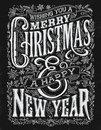 Vintage Christmas and New Year Chalkboard Typography Lockup Royalty Free Stock Photo