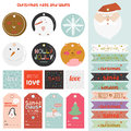 Vintage Christmas and New Year greeting stickers