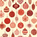 Vintage Christmas ornaments red and beige seamless vector pattern background. Repeated retro Christmas texture. Vector print for