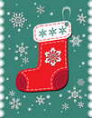 Vintage christmas patchwork sock Royalty Free Stock Photo