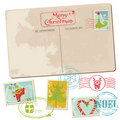 Vintage Christmas Postcard with Stamps Royalty Free Stock Image