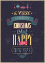 Vintage christmas poster vector illustration Royalty Free Stock Photos