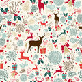 Vintage Christmas reindeer seamless pattern Royalty Free Stock Photo