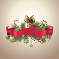 Vintage Christmas ribbon tag label Royalty Free Stock Images