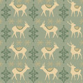 Vintage christmas seamless pattern with deers snowflakes and ornaments illustration background Stock Images