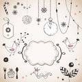 Vintage christmas set hand drawn elements Stock Photography