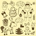 Vintage christmas set old paper retro ellements collection vector new year Royalty Free Stock Photography