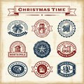 Vintage Christmas stamps set Royalty Free Stock Photo