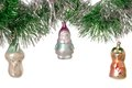 Vintage christmas tree toys old are isolated Stock Images