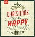 Vintage christmas typographic background retro design merry and happy new year Stock Photography