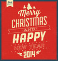 Vintage christmas typographic background retro design merry and happy new year Stock Photo