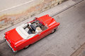 Vintage classic american car, view from above in Havana Royalty Free Stock Photo