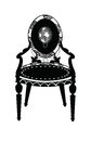 Vintage Classic chair in rounded shape with rich ornaments