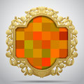 Vintage classic frame with colorful checkered background Royalty Free Stock Photo