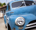 Vintage classical car close up view of a blue Stock Photos