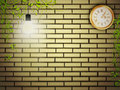 Vintage clock at brick wall Stock Photo