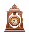 Vintage clock made ​​of wood isolated on white Royalty Free Stock Photos