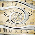 Vintage clock old wall in the dros effect Stock Photography