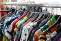 Vintage clothes for sale at flea market Royalty Free Stock Photo