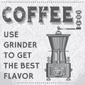 Vintage coffee grinder background in gray tones with ornament and Royalty Free Stock Photos