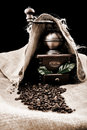 Vintage coffee grinder and coffe plant in granules Royalty Free Stock Photo