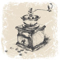 Vintage coffee grinder grunge frame monochrome vector ilustration hand drawing of and Royalty Free Stock Photo