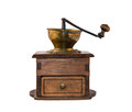 Vintage coffee grinder a made of wood and brass with drawer Royalty Free Stock Photo