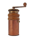 Vintage coffee grinder mill over white clipping path Royalty Free Stock Photography