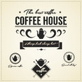 Vintage coffee house labels and icons eps compatibility required Royalty Free Stock Image