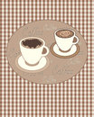 Vintage coffee an illustration of a poster with brown gingham background and two stylized cups with space for text Stock Photo