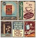 Starodávny káva plagáty a kov známky