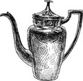 Vintage coffee pot vector drawing of the ancient Stock Photo