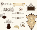Vintage coffee set vector with ornamental elements ai eps Royalty Free Stock Photo
