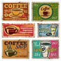 Vintage coffee shop and cafe metal vector signs in old 1940s style