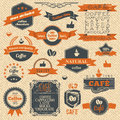 Vintage coffee stamps and label design backgrounds vector menu template Stock Images