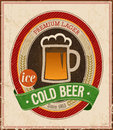Vintage cold beer poster vector illustration Royalty Free Stock Photography