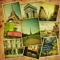 Vintage collage. Paris travel. Stock Photos