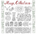 Vintage collection with hand drawn maya and aztec patterns and symbols