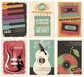 Vintage collection of musical posters Royalty Free Stock Photo