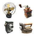 Vintage collections of fan coffee grinder camera and iron Royalty Free Stock Photo