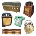 Vintage collections of radio telephone clock abacus Royalty Free Stock Photo