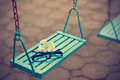 Vintage color tone style, glasses and white flower on the blue swing in evening Royalty Free Stock Photo