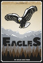Vintage Colored American Eagle Poster